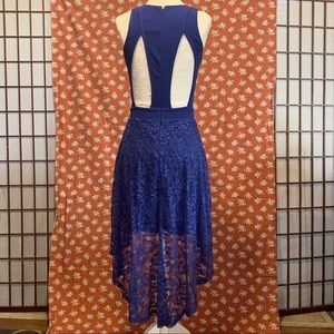 Lush royal blue lace high low tank top dress small